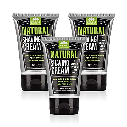 Pacific Shaving Company Natural Shaving Cream - Safe, Natural, and Plant-Derived Ingredients for a Smooth Shave, Softer Skin, Less Irritation, Cruelty-Free, TSA Friendly, Made in USA, 3.4 oz (3-Pack)