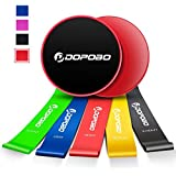 Dopobo Core Sliders Gliding Discs and 5 Exercise Resistance Loop Bands, Double-Sided Sliding Discs, Resistance Bands for Intense, Low-Impact Exercises to Strengthen Core, Glutes, Abs Fitness