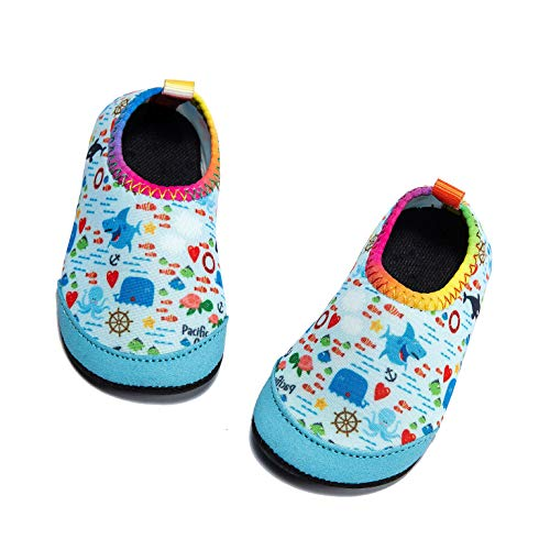 Panda Software Baby Boys Girls Water Shoes Infant Barefoot Quick -Dry Anti- Slip Aqua Sock for Beach Swim Pool Shark/0-6 Months M US Infant (Baby Swim Shoes Size 2)