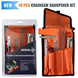 10 Piece Chainsaw Sharpener | Chainsaw Sharpening Kit Contains: 3Round Chain Saw Files 5/32, 3/16, 7/32 Inch- Handle - Depth Gauge - Filing Guide- Bar Groove Cleaner- Quick Check Gauge- Tool Pouch