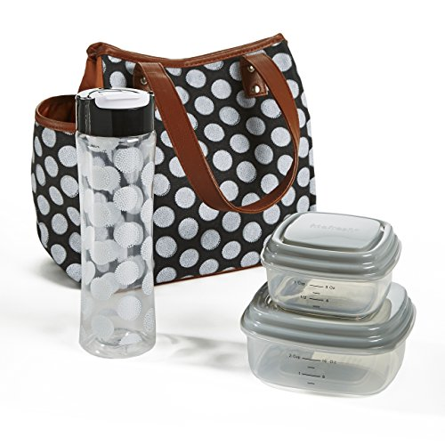 Fit & Fresh Westerly Insulated Lunch Bag Set for Women with Reusable Containers and 20 oz. Matching Water Bottle, Zipper Closure, Pocket, Black Double Dot - Fresh Lunch