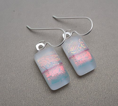 White Peach Pink Fused Dichroic glass dangle drop earrings .925 Solid Sterling silver ear wires