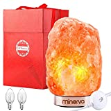 """Minerva Natural Himalayan Salt Lamp 9"""" to 10"""" - Hand Carved Crystal w/ Wood Base, Dimmer Switch and Bulb (5-10 lbs)"""