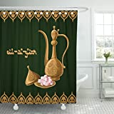 Emvency Fabric Shower Curtain Curtains with Hooks Abstract Eid Al Fitr with Traditional Arabic Kettle Lokum Golden and Text on Dark Green Allah Arab Arabian 72''X96'' Waterproof Decorative Bathroom