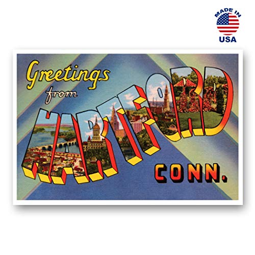 Set Connecticut - GREETINGS FROM HARTFORD, CT vintage reprint postcard set of 20 identical postcards. Large Letter Hartford, Connecticut city name post card pack (ca. 1930's-1940's). Made in USA.