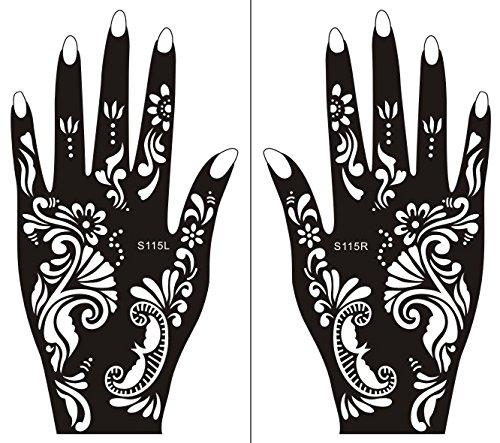 Plantillas de Mehndi Stencil tatuaje de la mano de Mehndi Tatuajes de henna S115 - desechable Tie