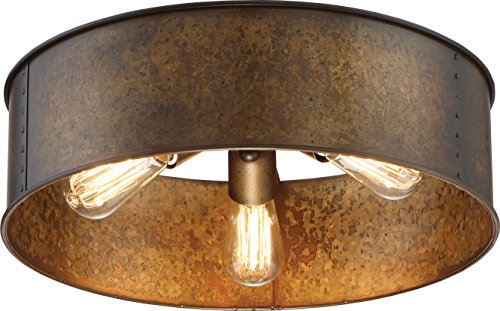 Nuvo Lighting Nuvo 60/5893 Three Light Flush Mount, Brass