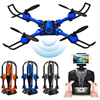PinPle Drone Foldable RC Quadcopter RTF 2.4G 4CH 6 Axis Gyro Quadcopter with WiFi FPV 0.3MP Camera - Altitude Hold & App Control (Blue)