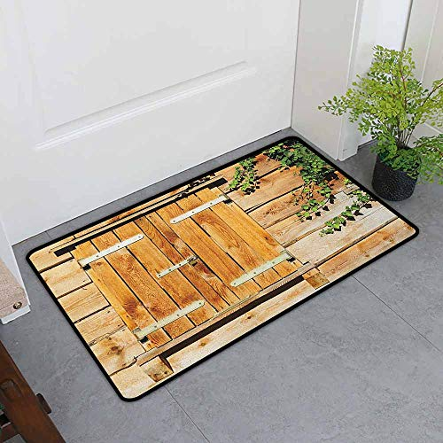 (ONECUTE Custom Doormat,Shutters Facade of an Old Building Wooden Shutters Traditional House Summer Plants Nature,Bathroom mat,35