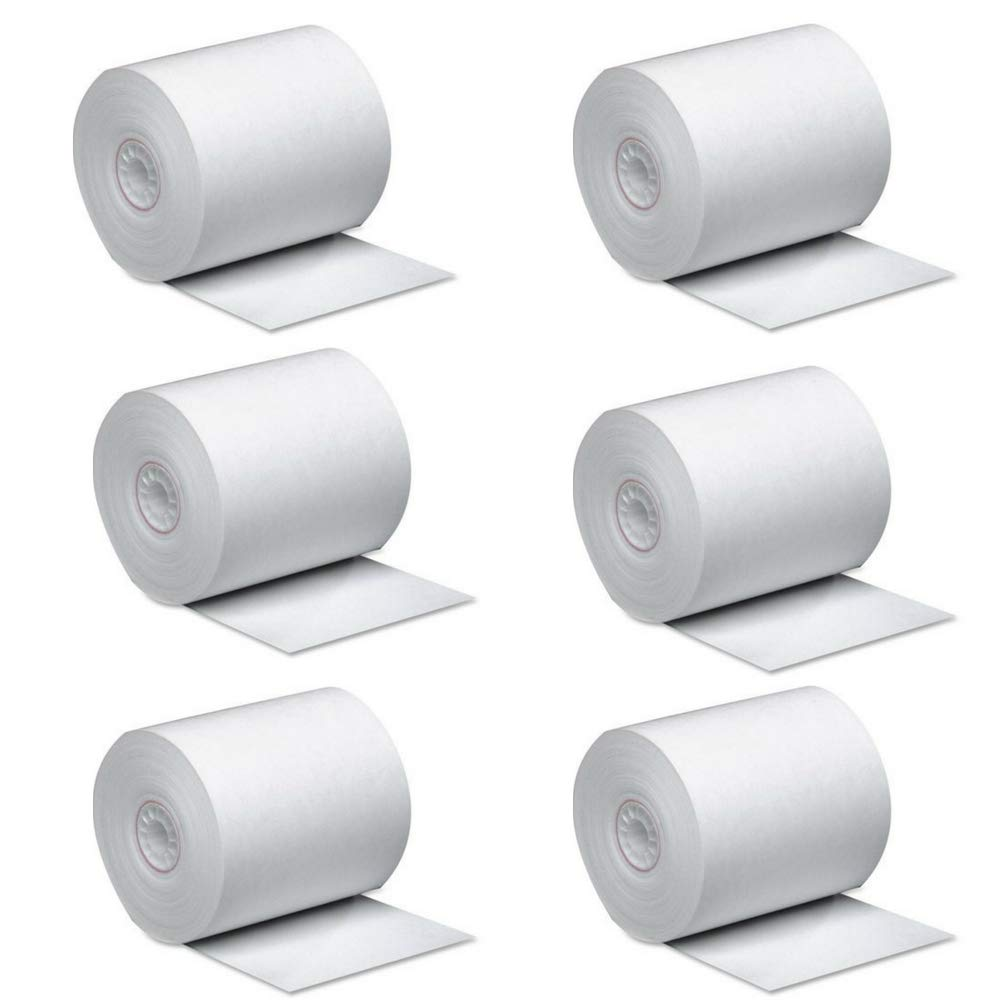 PM Company Single Ply Thermal Cash Register/POS Rolls, 2 1/4'' x 165 ft, White, 6/Pk -PMC05212
