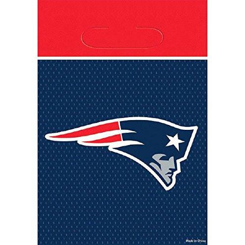 DesignWare New England Patriots NFL Plastic Loot Bags, 9 1/8 by 6 1/2''