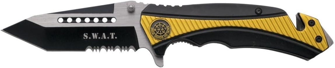 THIRD Navaja de Seguridad asistida K1912YLS Mango de Aluminio Negro y Amarillo con Emblema SWAT, Hoja de Acero INOX de 9.1 cm. Incluye Funda de Nylon, ...