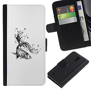 LECELL--Cuero de la tarjeta la carpeta del tirón Smartphone Slots Protección Holder For Samsung Galaxy S4 IV I9500 -- Floral tatuaje Koi Fish --