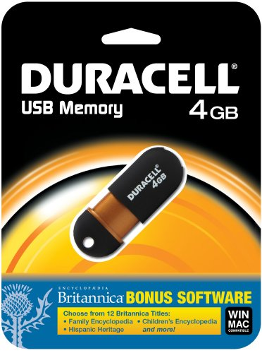Dane Electronics 4 GB Capless USB Flash Drive with Encyclopedia Britannica (12 Titles) - English - - Duracell Capless Usb