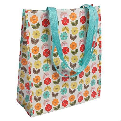 dotcomgiftshop Reusable Floral Shopper Bag - Mid Century Poppy by dotcomgiftshop