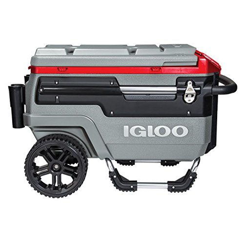 Igloo Trailmate Liddup Wheeled Lighted 70 Quart Cooler, Silver/Red Heat