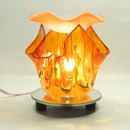 ELECTRIC TART BURNER AROMA LAMP OIL WARMER ORANGE TULIP SHAPED WITH DIMMER SWITCH 5.5 TALL 4.5 DISH WHICH EASILY FITS FULL SIZE TART