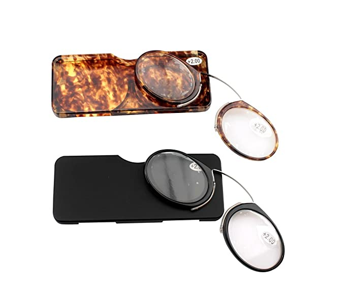 07f9c64d4b SOOLALA Women Men Go Everywhere SOS Pince Nez Style Nose Resting Pinching  Portable Wallet Reading Glasses