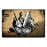 INGBAGS Super Soft Modern Vintage Music Musical Instruments Area Rugs Living Room Carpet Bedroom Rug for Children Play Solid Home Decorator Floor Rug and Carpets 60 x 39 Inch