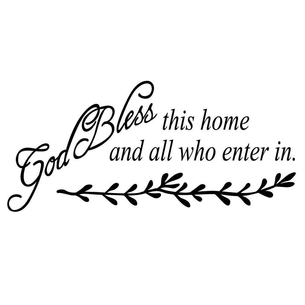 ZSSZ God Bless This Home and All who Enter in Vinyl Wall Decal Christian Quotes Jesus Grace Words Motto Home Décor