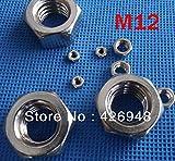 Ochoos New 100pcs M12 Stainless Steel Nylon Lock nut SUS304 self Locking nut,SS304 Non-Slip Nuts,DIN985 Standard
