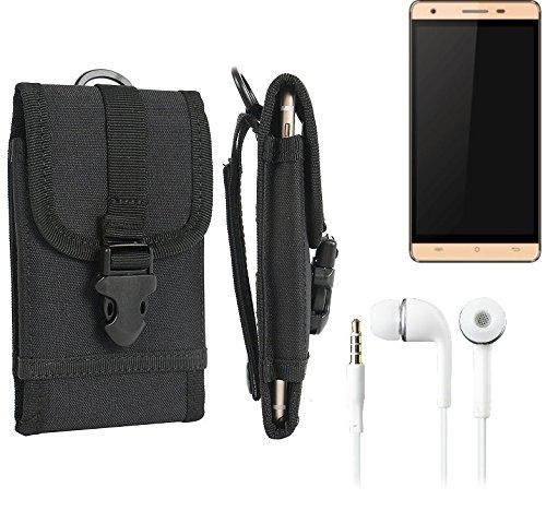 bolsa del cinturón / funda para Cubot H2, negro + Auriculares   caja del teléfono cubierta protectora bolso - K-S-Trade (TM)