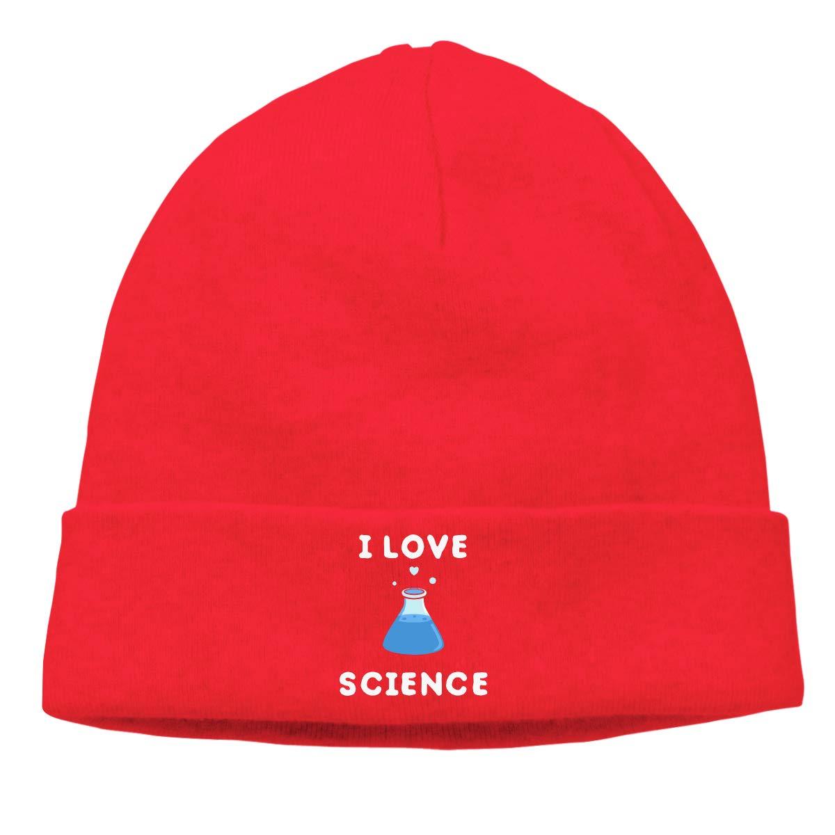 Men Women I Love Science and Chemistry Soft Skull Beanie Cap