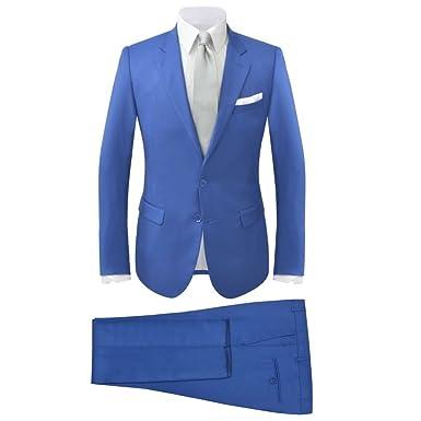 vidaXL Costume à 2 pcs Smoking pour Hommes soirée Mariage Bleu Royal Taille  46 4b80064d3fc
