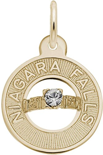 Rembrandt Niagara Falls Wedding Ring Charm w/ White Synthetic Crystal - Metal - 10K Yellow (Rembrandt 10k Ring)