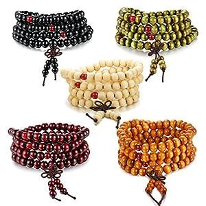 Besteel 3-8 PCS Mens Womens Wood Necklace Chain Bracelets 108 Buddhist Strand Wood Prayer Beads Sandalwood Link Wrist