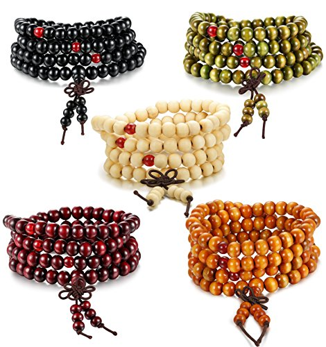Besteel 5PCS Mens Womens Wood Necklace Chain Bracelets 108 Buddhist Strand Wood Prayer Beads Sandalwood Link Wrist