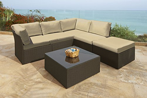 - NorthCape 6-Pc Newport Jacobean Resin Wicker Outdoor Furniture Sectional Sofa, Table & Ottoman Set - Olefin Beige Cushions