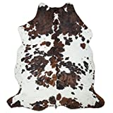 HIDES BAZAAR Tricolor Cowhide Rug Classic Brown, Black and White Color Mix, Natural Leather Hide, Area Rug (6x8ft)