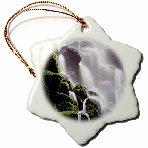3dRose Danita Delimont - Waterfalls - Oregon, Ramona Waterfalls cascades down cliff - US38 BJA0714 - Jaynes Gallery - 3 inch Snowflake Porcelain Ornament (orn_93697_1)