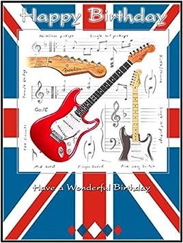 Little Snoring Regalos: 7 x 5 tarjeta de felicitación - Guitarra eléctrica Unión Jack Diseño de feliz cumpleaños: Amazon.es: Instrumentos musicales