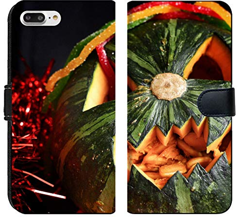Luxlady iPhone 8 Plus Flip Fabric Wallet Case Image ID: 22367185 Scary Jack O Lantern Halloween Pumpkin and Candy