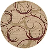 Rug Squared Fenwick Contemporary Transitional Round Rug (FEN82), 5-Feet 6-Inches by 5-Feet 6-Inches, Beige