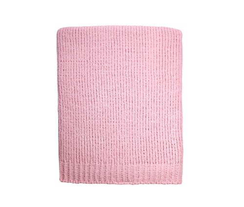 Little Love by NoJo Separates Collection Knit Chenille Blanket, Pink -