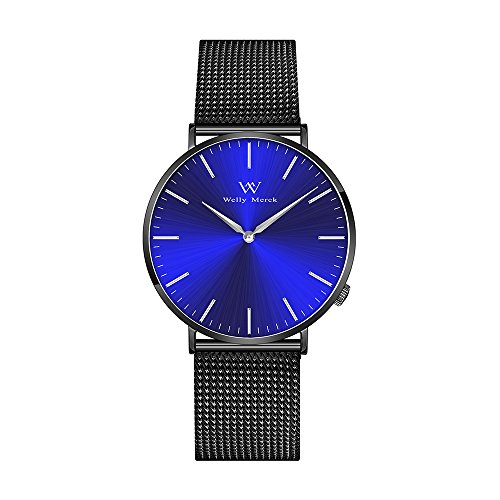 Welly Merck Blue Sunray Dial Swiss Movement Sapphire Crystal Women Luxury Watch Minimalist Ultra Thin Slim Analog Wrist Watch 18mm Black Stainless Steel Mesh Band 36mm Dial 164ft Water Resistant