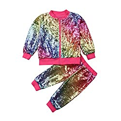 Rainbow Sequin Long Sleeve Pink Zip Sweatshirt & Pant