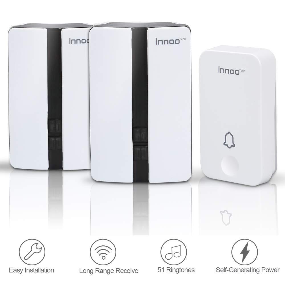 Wireless Doorbell - No Battery Required Doorbell Chime with 2 Receivers, 500 Feet/ 150 Meter Receiving Range, IP44 Waterproof Level, 4 Levels Volume, 51 Ringtones, White