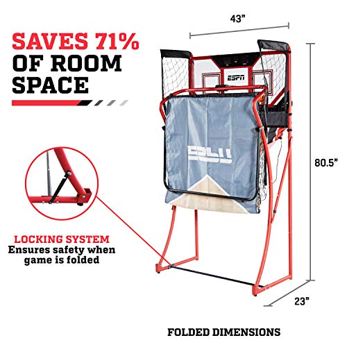 ESPN EZ Fold 2 player Basketball Game with Polycarbonate Backboard and LED Scoring by ESPN (Image #4)