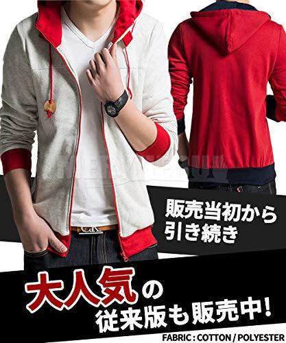 [meryueru(メリュエル)] デザイン パーカー ジップアップ フード付き 切り替え オシャレ ヘビロテ カラー メンズ