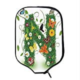 YOLIYANA Letter N Durable Racket Cover,Chamomile Daisy Gerbera Blooms and Green Leaves Colorful Butterflies Nature Decorative for Sandbeach,One Size