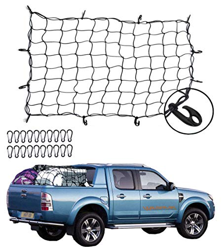 Malluo 3′X4′ Super Duty Latex Bungee Cargo Net,Stretches to 6′X8′ for Large Rooftop Cargo Rack Small Trucks with 12 ABS Hooks,Tie-Down Net Universal for Pickup Truck SUV Trailer Boat RV(4′X3′, Black)