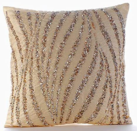 Amazon Com The Homecentric Handmade Beige Decorative Pillow Cover Metallic Sequins Beaded Glitter Pillow Cover Pillow Cover 20x20 Inch 50x50 Cm Contemporary Throw Pillow Cover Square Silk Wave Of Gold Home