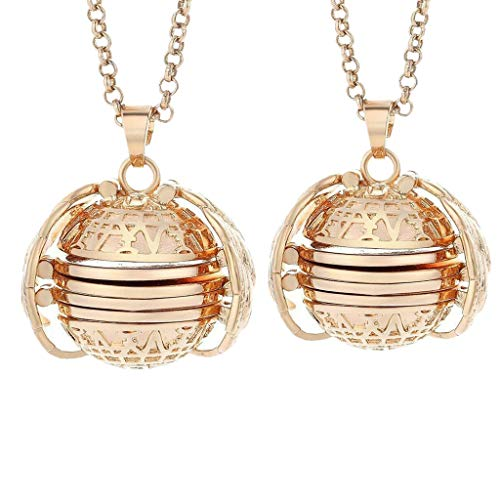Luonita 2PCS Expanding Photo Locket Necklace Pendant Souvenir Angel Wings Gift Jewelry Decoration Creative Fashion (Rose Gold)
