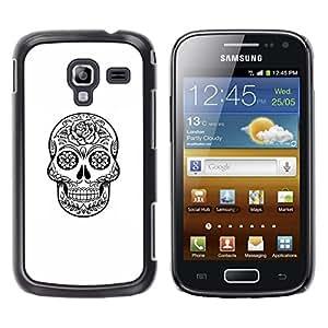 Ihec Tech Muerte Cráneo Negro tinta blanca de metal / Funda Case back Cover guard / for Samsung Galaxy Ace 2