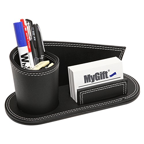 Modern Multipurpose Black Leatherette Desktop Organizer w/ Pencil Holder & Business Card Slot - MyGift