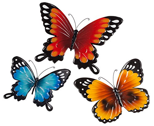 Fox Valley Traders Indoor/Outdoor Metal Butterflies, Set of 3 - Blue, Yellow, and Orange Butterflies with 7